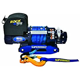 "Superwinch 1698201 ROCK 98, 12 VDC Competition Winch, 9,800lb/4445 kg with 3/8"" x 50' Synthetic Rope & Blue Anodized…"