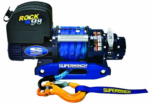 """Superwinch 1698201 ROCK 98, 12 VDC Competition Winch, 9,800lb/4445 kg with 3/8"""" x 50' Synthetic Rope & Blue Anodized Hawse"""