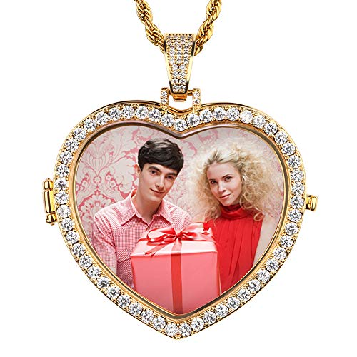 YIMERAIRE Gold Custom Made Photo Heart Medallions Necklace & Pendant 4mm Tennis Chain Cubic Zircon Men's Hip hop Jewelry