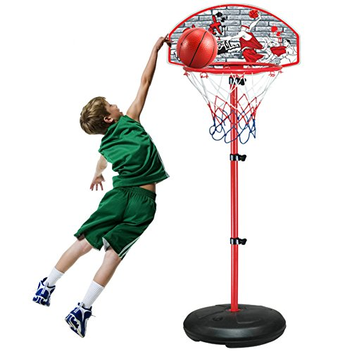 FreeBex Portable Basketball Hoop,Height Adjustable Basketball Stand Set with Anchor Kit Ball and Pump for Indoor and Outdoor,90 Inch