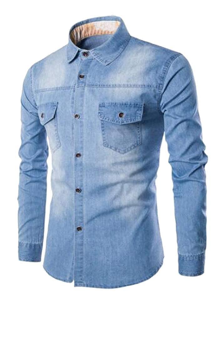 ARTFFEL Mens Casual Long Sleeve Single Breasted Slim Fit Chest Pocket Denim Work Western Shirt
