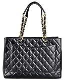 Simple-Chanel Womens Black GST Single Shoulder Bag Chain Litchi Peel Shopping Bag