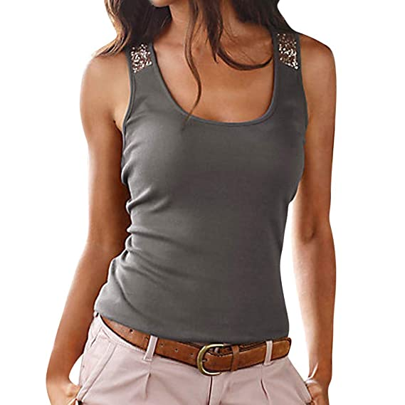 f715366df28903 TOPSPEED Women's Sleeveless Sequin Vest Tops Summer Ladies Casual Blouse T  Shirt Plus Size Dark Gray: Amazon.in: Clothing & Accessories