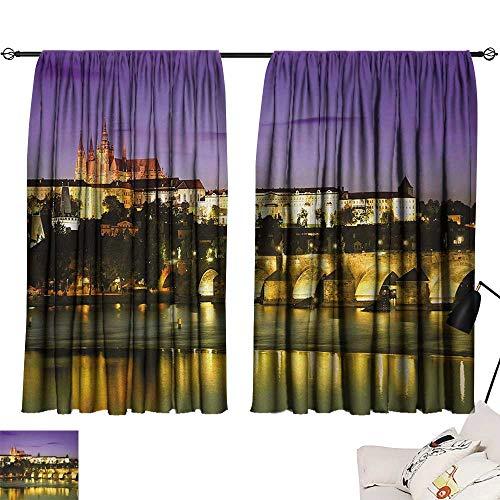 Curtain Set Travel,Charles Bridge Prague Czech Republic European Famous Landmark Castle View,Purple Yellow Brown 54