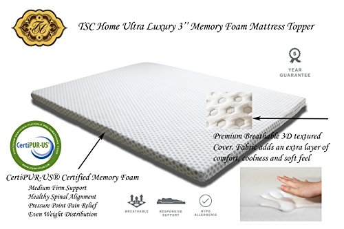 TSC Home Ultra Luxury 3'' Memory Foam Mattress Topper, CertiPUR-US Certified Memory Foam, Removable Breathable Hypoallergenic Soft 3D Textured Cover, 5 Years Warranty (FULL) by TSC Home by TSC Giftables