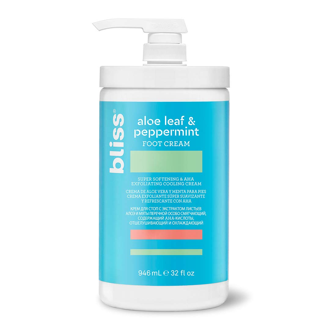 Bliss Aloe Leaf & Peppermint Foot Cream, Exfoliator & Moisturizer with Eucalyptus for Cooling, Smoothing and Softening Dry Feet and Heels, Vegan Formula with No Parabens, 32 oz