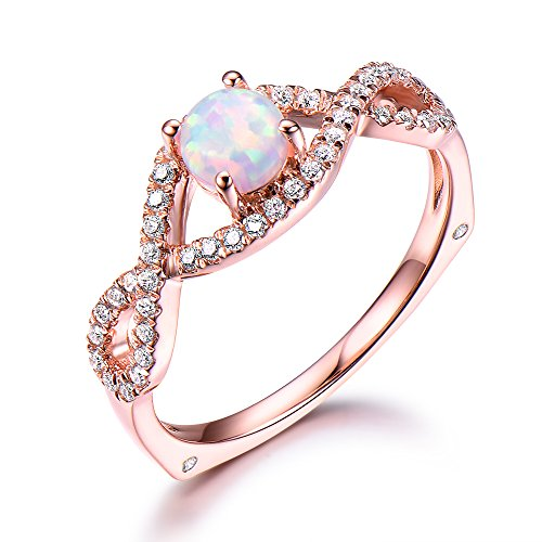 5mm Round Cut Opal Engagement Ring CZ Cubic Zirconia 925 Sterling Silver Rose Gold Split Shank Unique Set by Milejewel Opal Engagement Ring