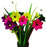BUOP 24-Count [12+12] Bouquet of Daffodil Cartoon Cute Silicone Ballpoint Pen, Novelty Design Flower Arrangement Style Pens of Grass and Daffodil