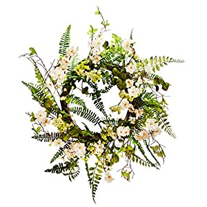 22 inches Cherry Blossom Flower Wreath, Wreath for Front Door, Beautiful Handcrafted Wreath for Home Decor, Weddings Cream 38