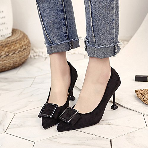 con para está tacones 35 Xue negro clip zapatos solo con light bien mujer fiesta de Sugerencia Qiqi Matt zapatos salvaje de wgqqxYPS