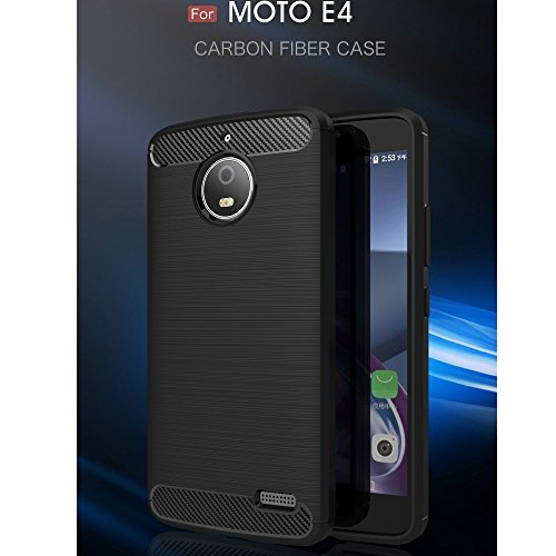 Roi Boutique Motorola Moto E4 TPU Case Carbon Fibre Optique Brushed Etui Noir