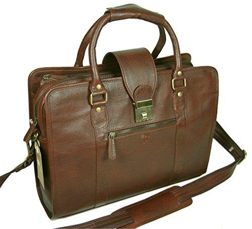 LeftOver Studio Genuine Leather Unisex Laptop Bag Organizer Briefcase Messenger Bag with Combination Lock by Leftover Studio (Image #4)