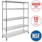Seville Classics UltraDurable Commercial-Grade 5-Tier NSF-Certified Steel Wire Shelving with Wheels, 48' W x 24' D x 72' H, Chrome