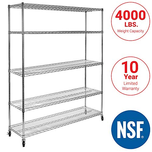 "Seville Classics UltraDurable Commercial-Grade 5-Tier NSF-Certified Steel Wire Shelving with Wheels, 48"" W x 24"" D x 72"" H Chrome from Seville Classics"