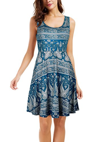 Le Vonfort Women's Mid Length Sundress Featuring Sleeveless Scoop Neck Cocktail Party Dress with Side Slant Pockets Paisley Blue Large