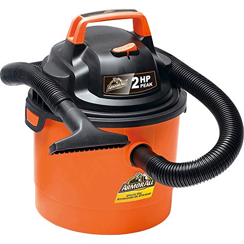 Armor All 2.5 Gallon 2 HP 1-1/4″ Hose, Portable Wall Mountable Wet/Dry Utility Vac (VOM205P0901), Orange