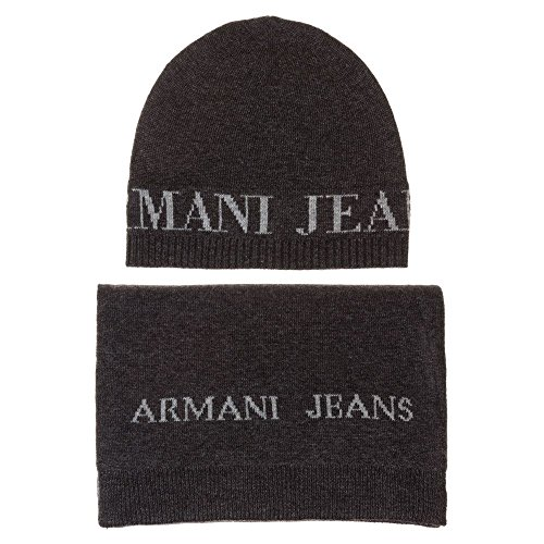 A|X Armani Exchange Armani Exchange Men's Wool Blend Hat and Scarf, Grey, One Size from A|X Armani Exchange