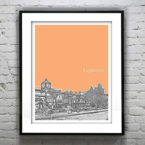 Les Connie Plymouth Michigan Skyline Poster City Art Print MI