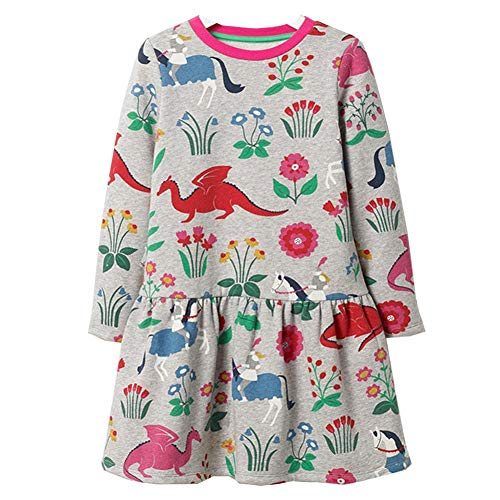 Frogwill Girl Dinosaur Dress Long Sleeve Grey 7T