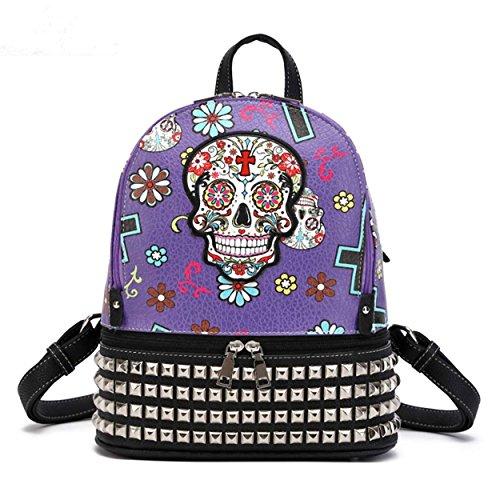 Sugar Skull Day of the Dead Halloween Punk Biker Backpack Bookbag Girl Shoulder Bag (Purple)]()