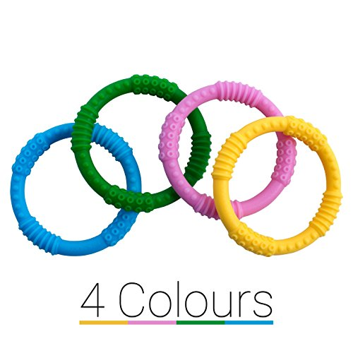 Baby Teether Rings [4 Colors] Soother Infant Teething Toy – Dental Molar Pacifier- Best Babyshower Gift - Mouth Round Ring