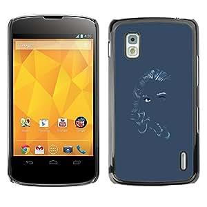 TopCaseStore / la caja del caucho duro de la cubierta de protección de la piel - Chalk Girl Art Blue Gray Grey Woman - LG Google Nexus 4 E960