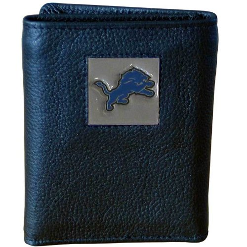 NFL Detroit Lions Genuine Leather Tri-fold Wallet Lions Tri Fold