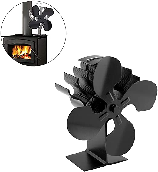 Ventilador para Chimenea, Ventilador para Estufa De Leña Accesorio para Chimenea para Horno Termómetro De Aire Caliente De 4Cuchillas El Potente Motor Aumenta La Temperatura Interna En Un 80%: Amazon.es: Hogar