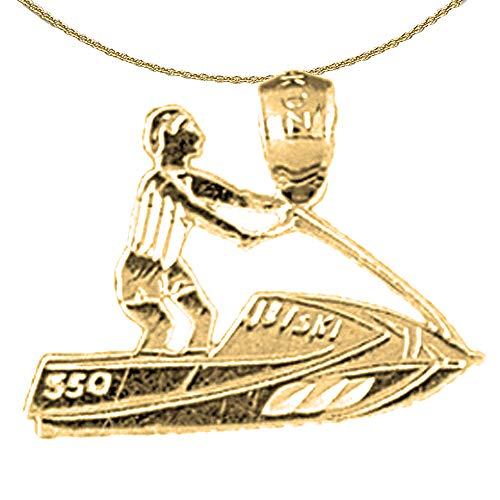 Jewels Obsession Solid 14K Yellow Gold Jet Ski Pendant with 18