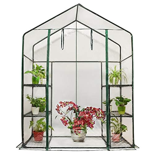 Quictent Greenhouse Mini Walk-in 3 Tiers 6 Shelves 102lbs Max Weight Capacity Portable Plant Garden Outdoor Green House 56 x 29 x 77 Inches