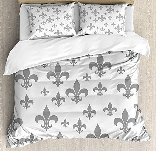 Crystal Emotion Fleur De Lis 4Pieces Home Comforter Bedding Sets Duvet Cover Sets Bed Sheet Bedspread for Adult Kids,Flat Sheet,Pillow Shams Set, Twin Size