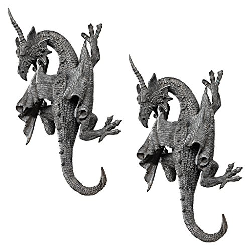 White Castle Christmas - Design Toscano Horned Dragon of Devonshire Wall Sculpture: Set of Two