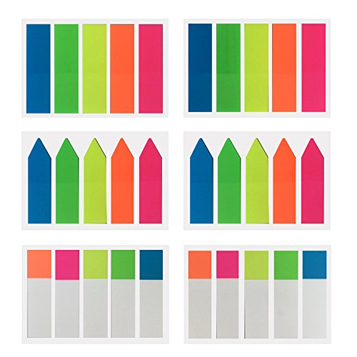 6 Packs Index Tabs Neon Page Marker Colored Fluorescent Sticky Note for Marking for Page Marker 600 Pieces