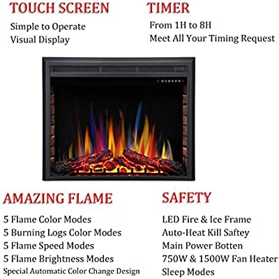 Excellent Rwflame 33 Electric Fireplace Insert Freestanding Recessed Electric Stove Heater Touch Screen Remote Control 750W 1500W With Timer Colorful Flame Home Interior And Landscaping Sapresignezvosmurscom