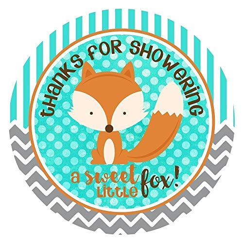 Fox Thank You Sticker Labels - Woodland Forest Baby Shower Party Favor Stickers For Boy - Set of 30
