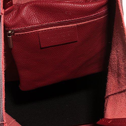 FIRENZE ARTEGIANI.Bolso shopping bag de mujer piel auténtica.Bolso shopping Bag mujer de cuero genuino Dollaro MADE IN ITALY. VERA PELLE ITALIANA. 40x37x13,5 cm. Color: MARRON OSCURO RED