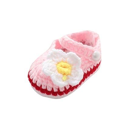 Zapatos Bebé niña primeros pasos ❤️ Amlaiworld Zapatos rosas de verano para bebés Cuna Crochet Calcetín de punto hecho a mano de niñas zapatos ...