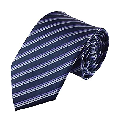 Mens Necktie Black with Sleek Stylish Purple Pinstripe Fashion Tie