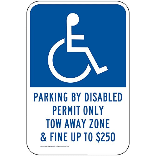 ComplianceSigns Aluminum Florida Parking Control sign, Reflective 18 x 12 in. with Parking Handicapped info in English, ()