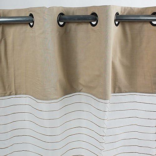 Visillo Shamlyne seda, de yute, de algodón 250 x 110-Monbeaurideau, color beige: Amazon.es: Hogar