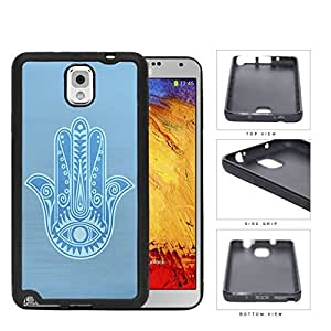 Baby Blue Hamsa Palm With All-Seeing Eye Rubber Silicone TPU Cell Phone Case Samsung Galaxy Note 3 III N9000 N9002 N9005