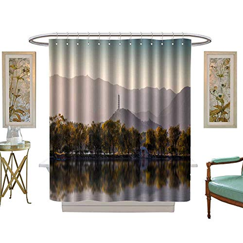 luvoluxhome Shower Curtain Collection by Autumn, Kunming Lake in The Summer Palace Patterned Shower Curtain W48 x L84