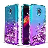 Wallme Alcatel TCL LX Case/Alcatel 1X Evolve/Alcatel IdealXtra Phone Case Bling Glitter Diamond Cute Hearts Flowing Sparkle Cover for Girls/Women-Teal/Purple