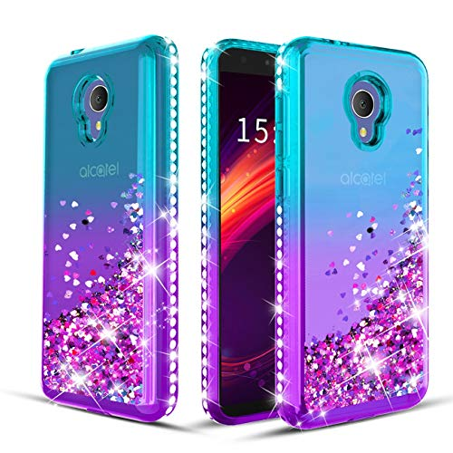 Wallme Alcatel TCL LX Case/Alcatel 1X Evolve/Alcatel IdealXtra 5.34 Phone Case Bling Glitter Diamond Cute Hearts Flowing Sparkle Cover for Girls/Women-Teal/Purple