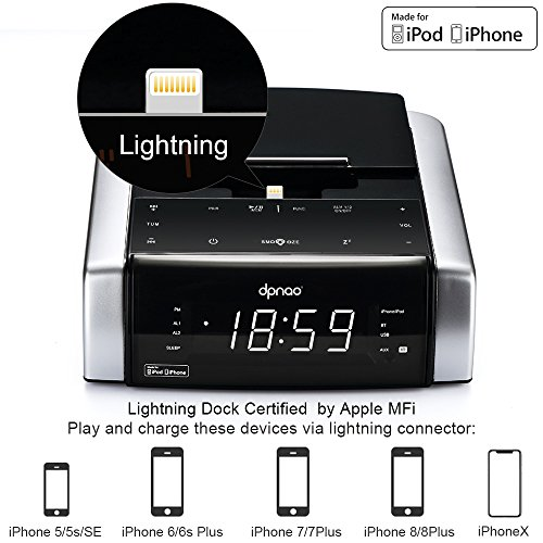 DPNAO iphone Lightning Docking Station with Speaker Clock Dual Alarm Radio Bluetooth USB AUX-in Remote for iPhone X/8/8plus 7/7plus/6/6s/6splus 5/5s[Apple MFi Certified]