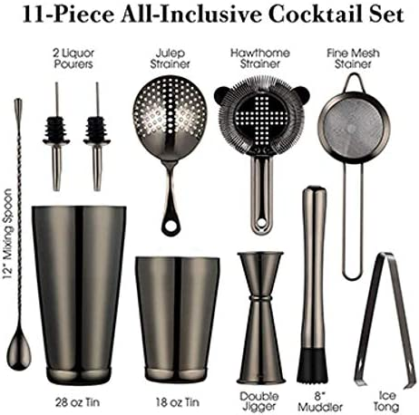 Cocktail Shaker Bar Set, 2 gewichtete Boston Shaker, Cocktail Sieb Set, Jigger, Löffel, Eiszange und 2 Flaschenausgießer, Gunmetal Black