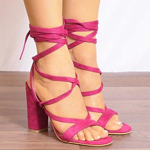 Womens Fucsia Rosa Allacciate Avvolgono Rotondo Strappy Sandali Peep Toes Tacchi Alti UK3/EURO36/AUS4/USA5