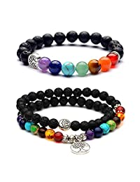 7 Chakra Natural Lava Stone Mala Beads Bracelet Tree of Life Essential Oil Diffuser Healing Energy Bracelet