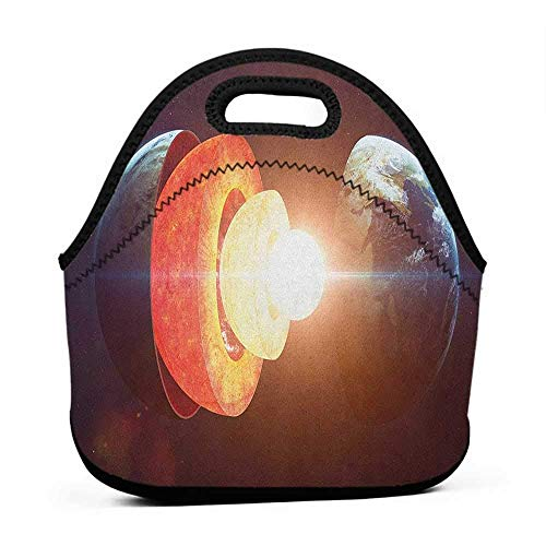 Convenient Lunch Box Tote Bag Earth,Core of the Earth Structure Burning Magma Geomagnetic Tectonic Split, Orange Pale Yellow Indigo,tinkerbell lunch bag for - Travel Tinkerbell Bags