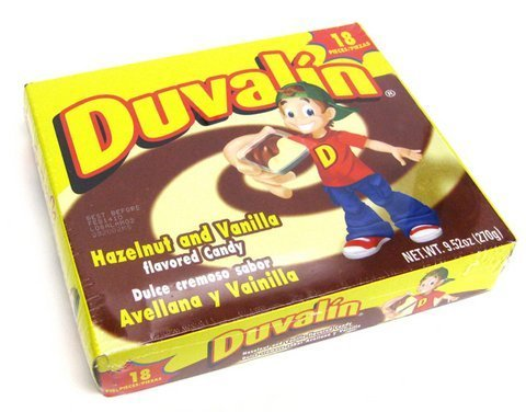 Authentic Sabores - Imported Mexican Duvalin Hazelnut Vanilla Candy Creams - 18 ct with 1ct Paleton La Corona Chocolate Covered Marshmellow Lollipop (Strawberry)